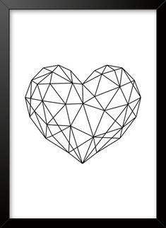Geometric Drawing, Geometric Wallpaper, Minimal Drawings, Pop Art Drawing, Geometric Heart, Wall Sticker, Vector Art, Embroidery Patterns, Design Art