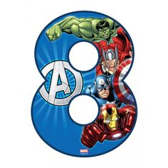 Buy the Avengers Number 8 Edible Icing Image. Please note: Numbers are not pre-cut on page. Number pan to match edible image available for hire at your local Bake Boss store. Avenger Cupcakes, Avenger Cake, Peppa Pig, Bake Boss, Create A Cake, Avengers Characters, Avengers Birthday, Number 8, Patterned Sheets