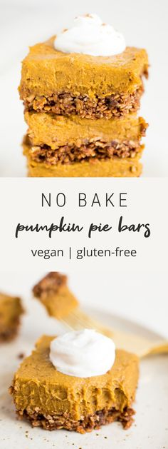 These decadent no bake pumpkin pie bars pair a crunchy granola crust with a creamy, thick pumpkin filling with coconut oil and cashew butter. Vegan