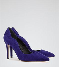 d0b213cebec Harper Blue Scallop Detail Court Shoes - REISS Shoe Wardrobe