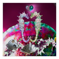 SEAHORSES IN LOVE , PINK TEAL BLUE MOTHER OF PEARL DIGITAL ART POSTERS by Bulgan Lumini (c)