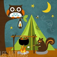 110B Bright Squirrel Camping 6 x 6 Print by leearthaus on Etsy, $15.00