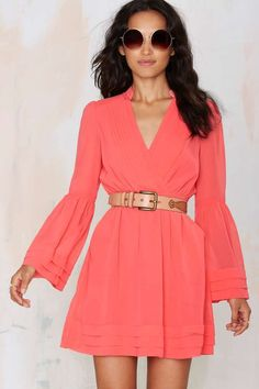 Baby Love Chiffon Dress - Coral - Day   Solid