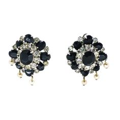 VINTAGE 1950S MITCHEL MAER FOR CHRISTIAN DIOR BLACK & WHITE PASTE CLIP EARRINGS | Clarice Jewellery