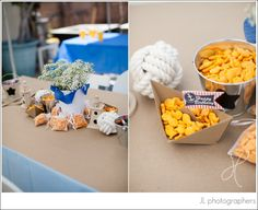 Adorable centerpieces + snacks for a nautical-themed #kidsparty! #nautical