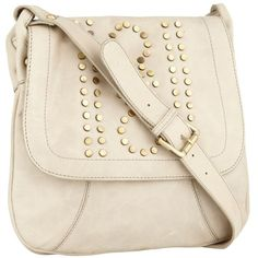 Light grey studded cross-body handbag ($44) ❤ liked on Polyvore