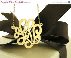 ON SALE Monogram necklace, 1  inch in diameter, Sterling Silver, Rose gold  plated,  Personalized,Custom made, Handcrafted, With gift  box,