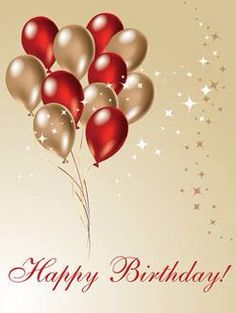 Happy Birthday gold & red balloons