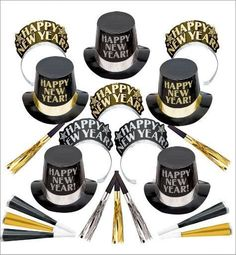 Black, Gold & Silver Multi-Color New Year's Party Kit For 10 - 5 Men & 5 Women #Party #Christmas