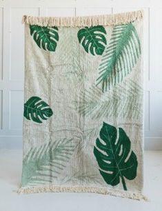 Washable Green Leaf Print Rug