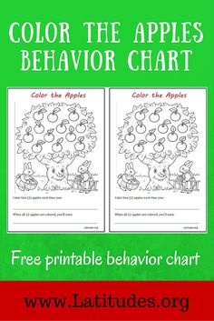 This coloring the apples behavior chart is best used for encouraging a single behavior at home or school. Depending on the type of behavior you want to reinforce, this incentive chart can be used each time a specific behavior takes place or on a time interval (such as on the half hour) when a level of the behavior has been reached.