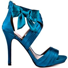 Shoes - Teal Satin                        Luichiny