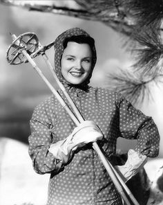 1940s actress Wanda Hendrix ready for the slopes in winter...She was a real beauty--married Audie Murphy.