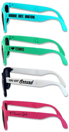 How cool are these foldable, retro-inspired tennis sunglasses?! They come in 4 cool colors and there's so many different designs to choose from! They make an awesome tennis team gift!