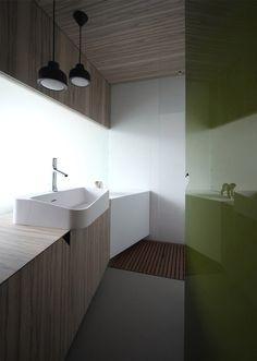 Epoxy floor, wood vanity and ceiling, glossy olive door