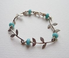 Blossoming Branch Sterling Silver Tabatha Leaf Bracelet with amazonite gemstones