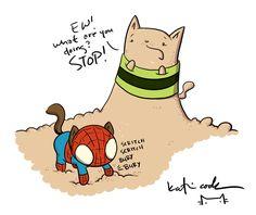 Spider-cat vs. Sandcat (by Katie Cook)