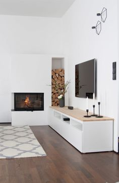 Mobilier design salon cheminée - Zuhause ist's am schönsten - Living Room Tv, Living Room With Fireplace, Interior Design Living Room, Home And Living, Living Room Designs, Modern Living, Ikea Interior, Lobby Interior, Minimalist Living