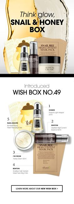 If you think about glow, we recommended this box. Papa Recipe, Beauty Tips, Beauty Hacks, Wish Box, Korean Products, Cosrx, Korean Beauty, Snail, Moisturizer