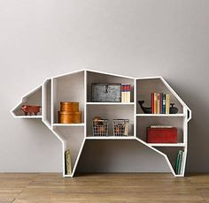 Restoration Hardware Baby and Child Bear Bookcase.want in my sons room! Bookcase Storage, Bookshelves, Shelving, Bookshelf Plans, Black Bookshelf, Bookshelf Design, Media Storage, Kids Furniture, Furniture Design
