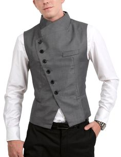 Mens Stunning Design Slim Vest - Men's style Cyberpunk Fashion, Cyberpunk Clothes, Mens Fashion, Fashion Tips, Fashion Design, Fashion Edgy, Gothic Fashion, African Men, Future Fashion