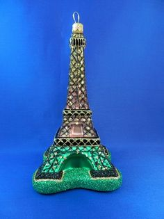 Eiffel Tower of Paris, France. European glass Christmas ornament with glitter that looks like lights. Found on Vintage Treasures Ornaments
