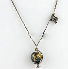 Celebrity Fashion Retro Bronze Globe Telescope Pendant Long Charm Necklace Chain #New #NecklacePendant
