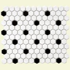 Merola Tile, Metro Hex Glossy White With Black Dot 11 7/8 in. x 10 1/4 in. Glazed Porcelain Mosaic Tile, FXLMHWBD at The Home Depot - Mobile
