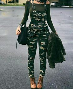 Shop Stylish Camouflage Pocket Front Overalls – Discover sexy women fashion at. Shop Stylish Camouflage Pocket Front Overalls – Discover sexy women fashion at IVRose Teenage Outfits, Teen Fashion Outfits, Edgy Outfits, Swag Outfits, Cute Casual Outfits, Outfits For Teens, Girl Outfits, Womens Fashion, Fashion Ideas