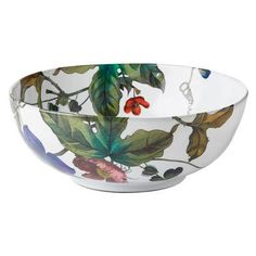 "Md Serving Bowl Flowers Wht Truffle 10""W-Anemone"