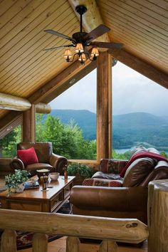 Stunning Windows & Views. Great Room in a Log Home.