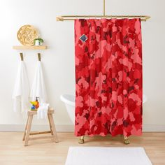 'Red Camouflage design' Shower Curtain by MidnightBrain Black Shower Curtains, Shades Of Red, Chiffon Tops, Camouflage, Tub, Color, Printed, Awesome, People