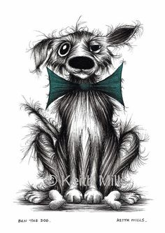 Ben the dog Print download Posh pet doggie pooch hound in trendy bow tie who's got a tasty treat to enjoy Humorous doggie picture