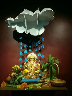 Ecofriendly ganpati decoration ideas ganapati decoration for Decorations of ganpati for home