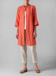 Linen Mandarin Collar Simple Long Blouse With Narrow Ankle Length Trousers Set