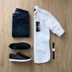Likes, 6 Comments – Men's Fashion Outfit Grid ( on Ins… – Emma Anderson - Touching and Emotional Image Stylish Mens Outfits, Casual Outfits, Men Casual, Fashion Outfits, White Shirt Outfits, Casual Attire, Casual Street Style, Oversized Fashion, Mens Fashion Blog