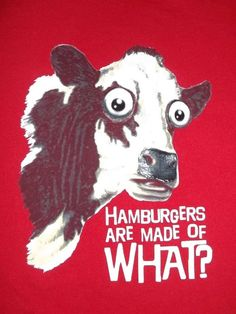 Hamburgers Are Made Of What? Funny Big Eyed Cow Embellished Eyes & Nose Sz XL   #TennesseeRiver #GraphicTee