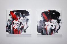 AugusTrio Bild abstrakte moderne Kunst in Acrylmalerei in schwarz weiß rot  abstract art on canvas von Susannes Kreativ-Lädchen auf DaWanda.com