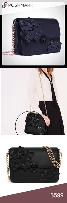 """🚫Sold on Pal.  🎀 Ladylike polish with a modern edge.. Duet Chain Flower Convertible Shoulder Bag is a sharply tailored silhouette accented with tonal blooms. Made of smooth leather, it has a roomy double-gusset interior, a logo medallion and a chain strap that can be worn short or long and cross-body.   Holds a continental wallet, an iPhone 6 Plus & a lip color Leather with floral appliqués Magnetic snap closure Adjustable chain strap with 23.31"""" drop 2 interior slit  & 1 zipper pocket…"""
