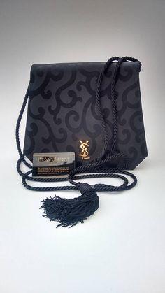 37660d345eea YSL Yves Saint Laurent Vintage Black Canvas with Arabesque