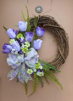 "20"" Purple Tulip Green White Floral Spring Easter Grapevine Door Wreath   Home & Garden, Holiday & Seasonal Décor, Easter & Spring   eBay!"
