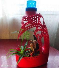 Líquido botella de detergente botella de plástico de residuos en macetas hechas a mano hermoso tesoro - www.shouyihuo.com