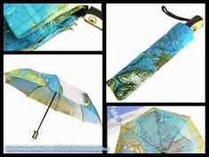 kilofly World Map Automatic Folding Umbrella, with Carry Sleeve