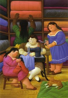 Botero, women sewing with cat