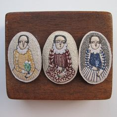 Image of Elizabethan-inspired embroidery brooches