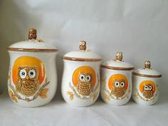 Set Of 4 Vintage Ceramic Sears Roebuck Owl Kitchen Flour / Sugar Canisters