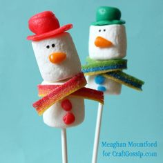 I think this may be the winner for at least one of the holiday parties I'm working on!!    Snowman Marshmallow Pops with Airheads Accessories · Edible Crafts | CraftGossip.com
