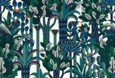 Hermes wallpaper designed by Pierre Marie Textiles, Textile Patterns, Textile Prints, Textile Design, Print Patterns, Floral Patterns, Graphic Patterns, Floral Designs, Fabric Wallpaper