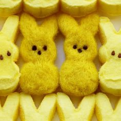 """I need these in pink -- Needle-Felted Easter Bunny """"Peeps"""""""