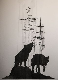 Main Part, Wolf #3 replaces second wolf. Trees in a smoke silhouette style
